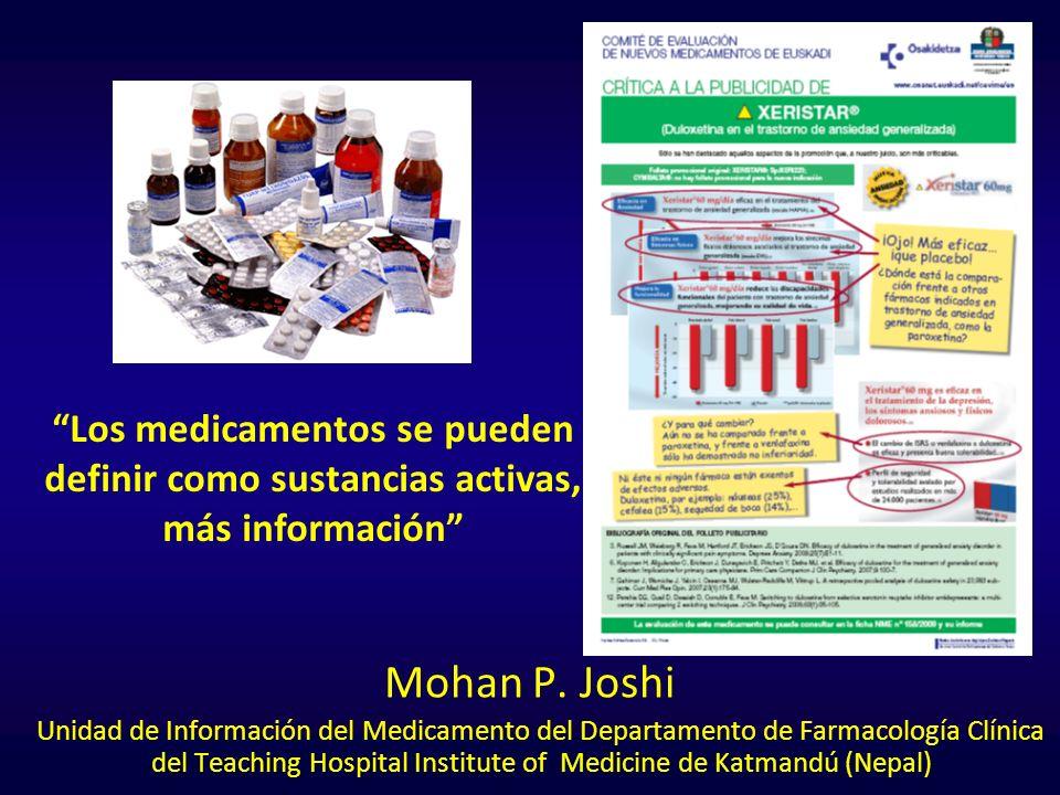 Mohan P. Joshi Unidad de Información del Medicamento del Departamento de Farmacología Clínica del Teaching Hospital Institute of Medicine de Katmandú