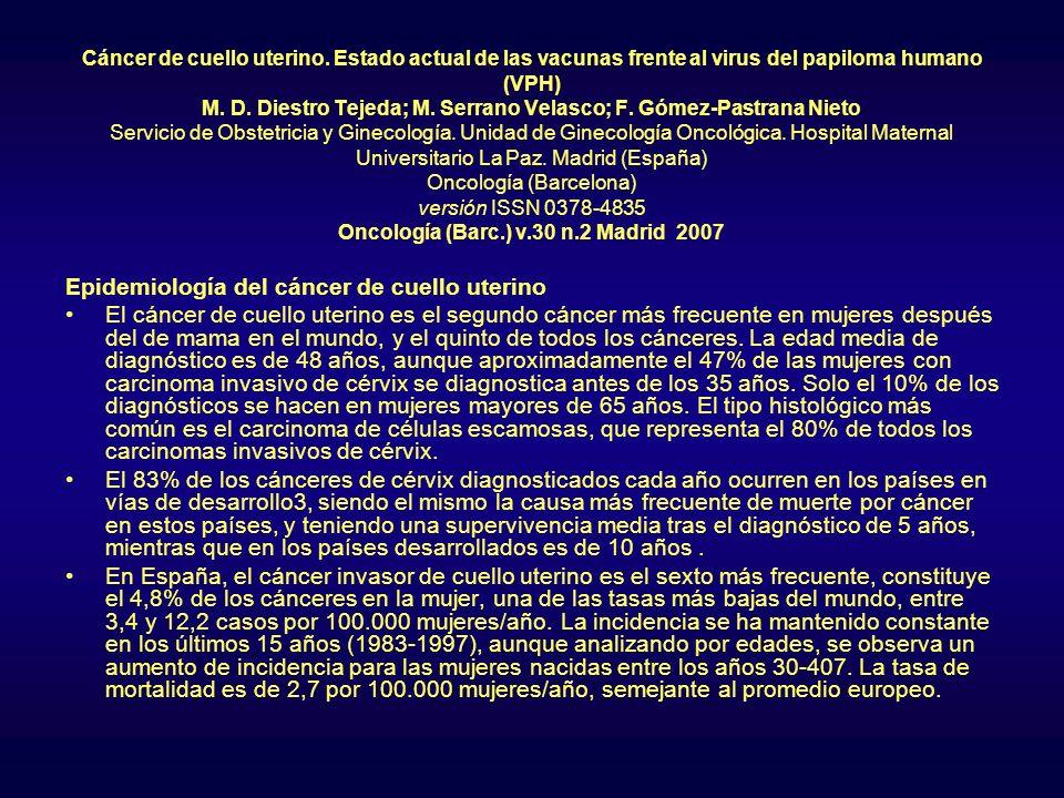 Cáncer de cuello uterino. Estado actual de las vacunas frente al virus del papiloma humano (VPH) M. D. Diestro Tejeda; M. Serrano Velasco; F. Gómez-Pa