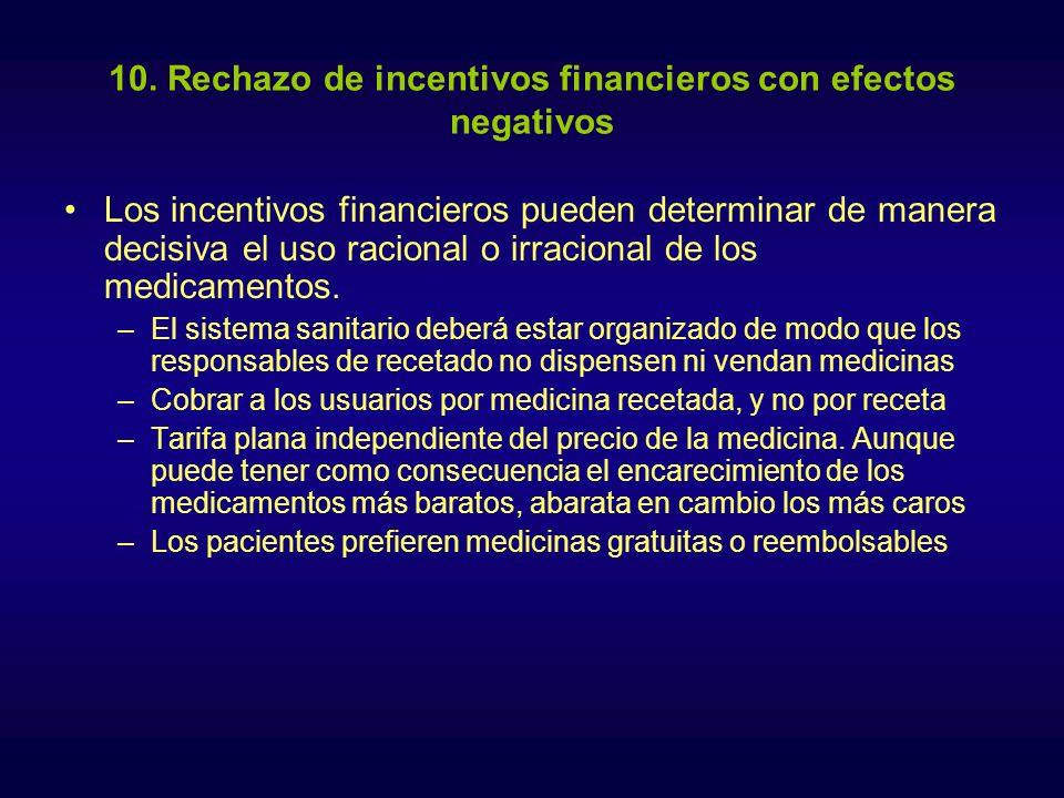 10. Rechazo de incentivos financieros con efectos negativos Los incentivos financieros pueden determinar de manera decisiva el uso racional o irracion