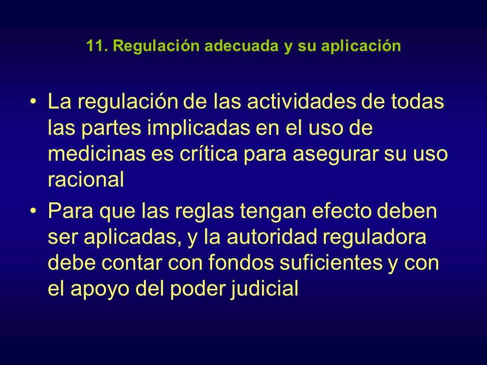 11. Regulación adecuada y su aplicación La regulación de las actividades de todas las partes implicadas en el uso de medicinas es crítica para asegura