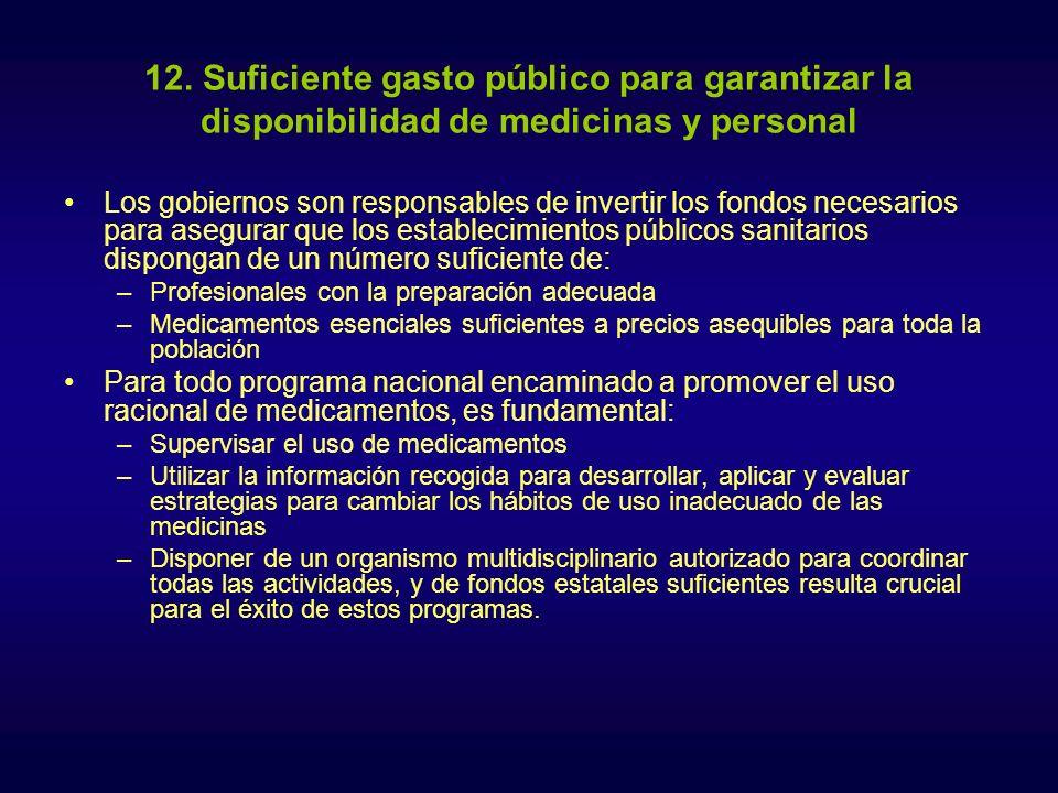 12. Suficiente gasto público para garantizar la disponibilidad de medicinas y personal Los gobiernos son responsables de invertir los fondos necesario