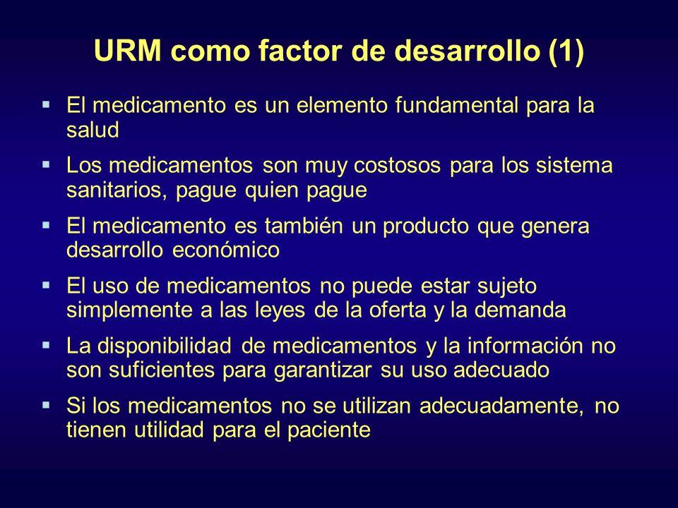 URM como factor de desarrollo (1) El medicamento es un elemento fundamental para la salud Los medicamentos son muy costosos para los sistema sanitario