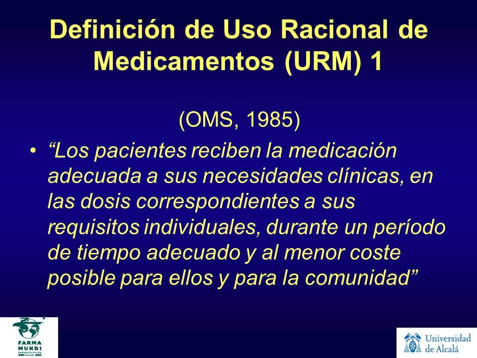 Definición de Uso Racional de Medicamentos (URM) 1 (OMS, 1985) Los pacientes reciben la medicación adecuada a sus necesidades clínicas, en las dosis c
