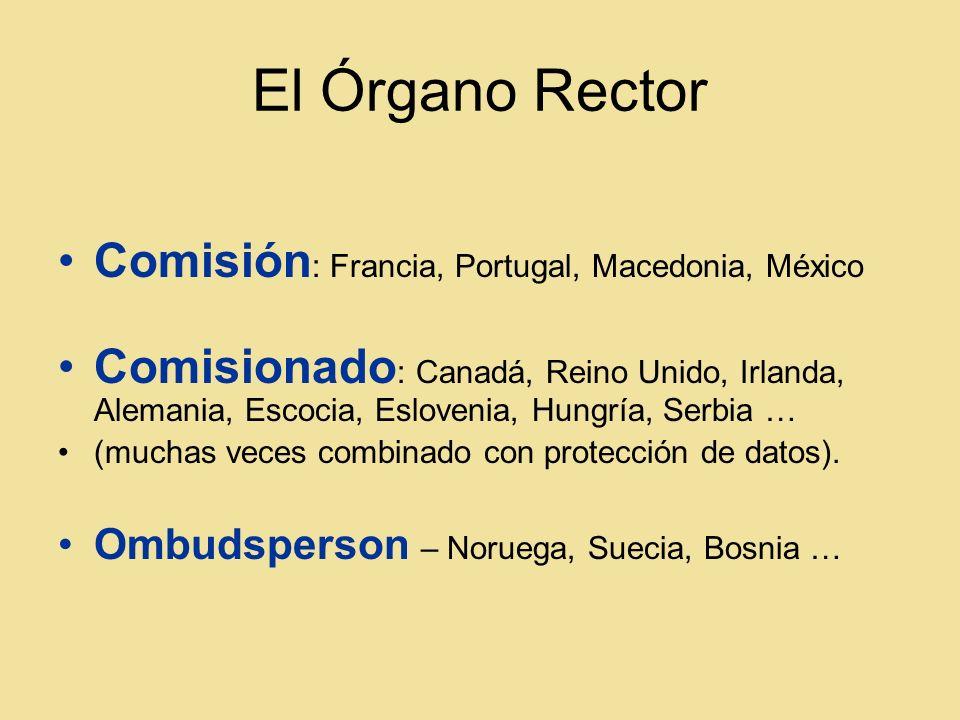 El Órgano Rector Comisión : Francia, Portugal, Macedonia, México Comisionado : Canadá, Reino Unido, Irlanda, Alemania, Escocia, Eslovenia, Hungría, Serbia … (muchas veces combinado con protección de datos).