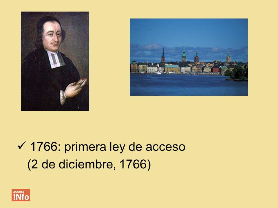1766: primera ley de acceso (2 de diciembre, 1766)