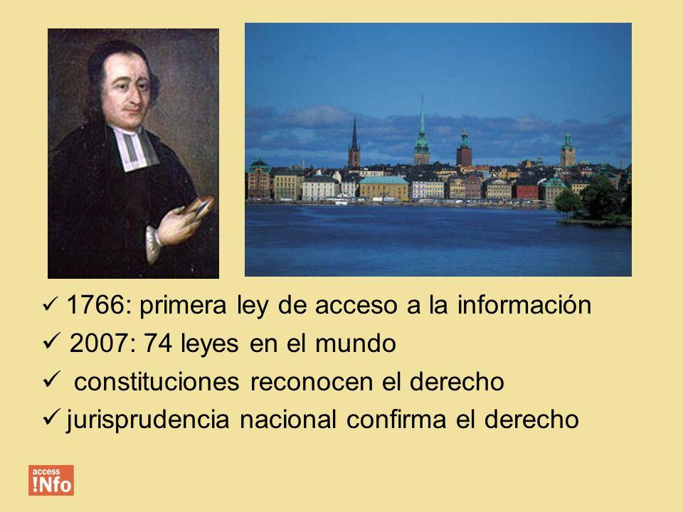 1766: primera ley de acceso a la información 2007: 74 leyes en el mundo constituciones reconocen el derecho jurisprudencia nacional confirma el derech