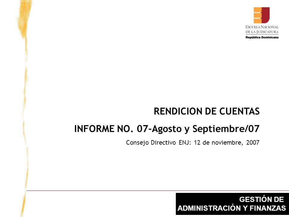 GESTIÓN DE ADMINISTRACIÓN Y FINANZAS RENDICION DE CUENTAS INFORME NO.