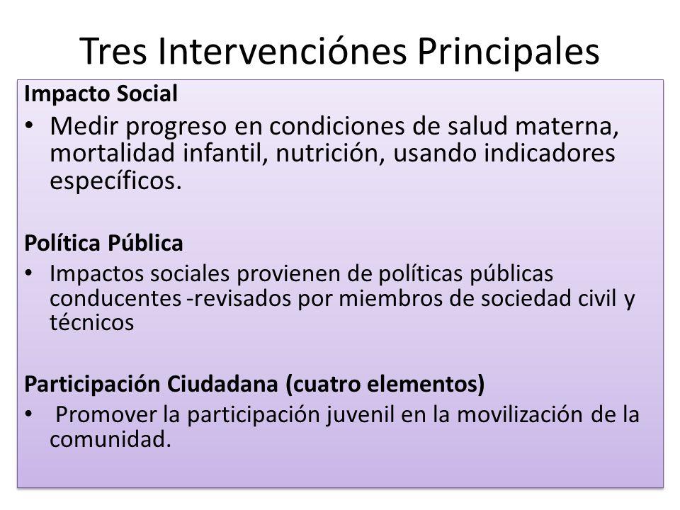 Tres Intervenciónes Principales Impacto Social Medir progreso en condiciones de salud materna, mortalidad infantil, nutrición, usando indicadores específicos.