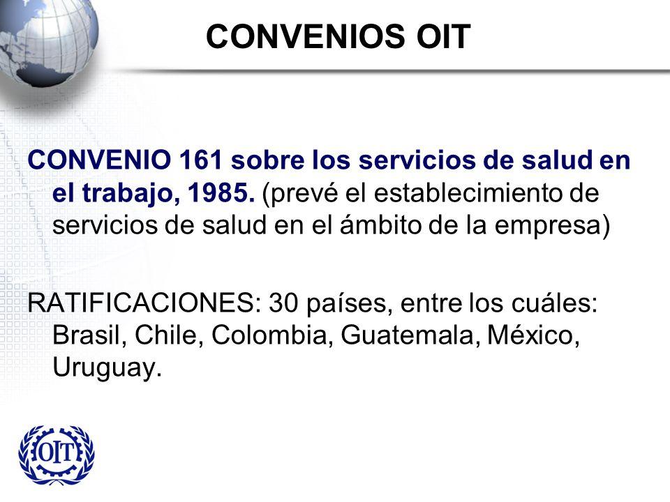 CONVENIOS OIT CONVENIO 161 sobre los servicios de salud en el trabajo, 1985. (prevé el establecimiento de servicios de salud en el ámbito de la empres