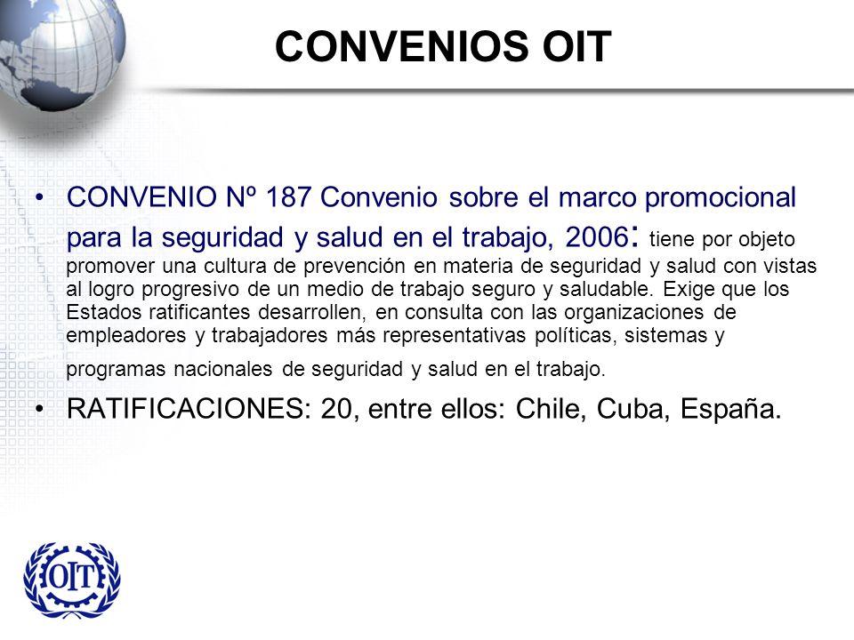 CONVENIOS OIT CONVENIO Nº 187 Convenio sobre el marco promocional para la seguridad y salud en el trabajo, 2006 : tiene por objeto promover una cultur