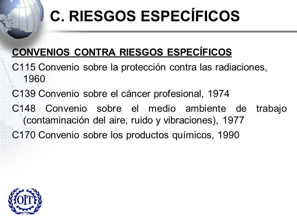 C. RIESGOS ESPECÍFICOS CONVENIOS CONTRA RIESGOS ESPECÍFICOS C115 Convenio sobre la protección contra las radiaciones, 1960 C139 Convenio sobre el cánc
