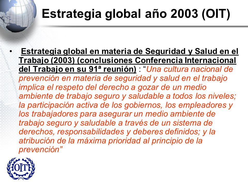 Estrategia global año 2003 (OIT) Estrategia global en materia de Seguridad y Salud en el Trabajo (2003) (conclusiones Conferencia Internacional del Tr