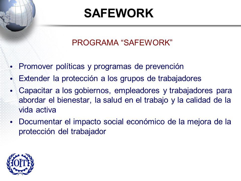 SAFEWORK PROGRAMA SAFEWORK Promover políticas y programas de prevención Extender la protección a los grupos de trabajadores Capacitar a los gobiernos,