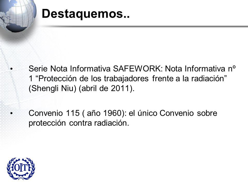 Destaquemos.. Serie Nota Informativa SAFEWORK: Nota Informativa nº 1 Protección de los trabajadores frente a la radiación (Shengli Niu) (abril de 2011