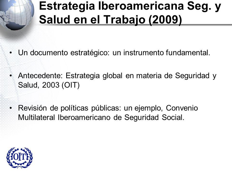 Estrategia Iberoamericana Seg. y Salud en el Trabajo (2009) Un documento estratégico: un instrumento fundamental. Antecedente: Estrategia global en ma