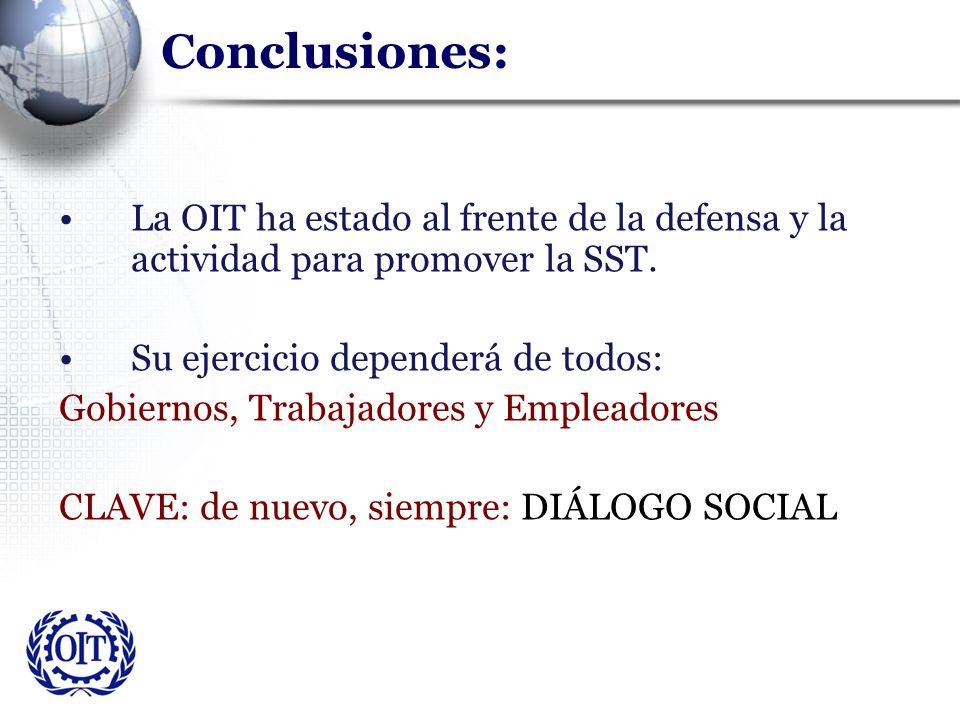 Conclusiones: La OIT ha estado al frente de la defensa y la actividad para promover la SST. Su ejercicio dependerá de todos: Gobiernos, Trabajadores y