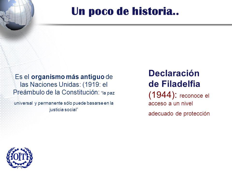 Un poco de historia.. Es el organismo más antiguo de las Naciones Unidas: (1919: el Preámbulo de la Constitución: la paz universal y permanente sólo p