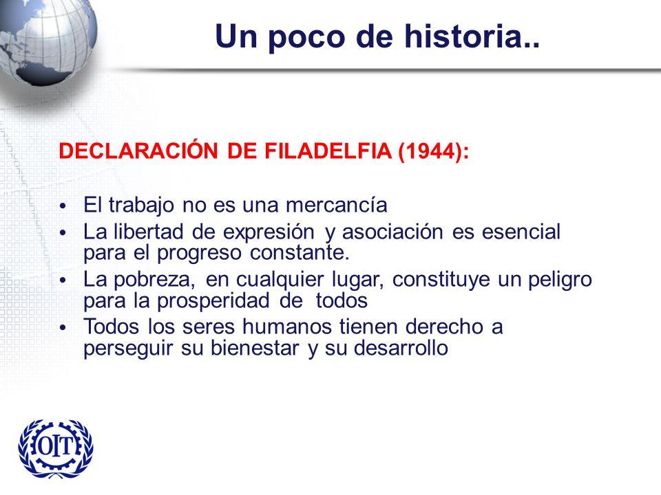 Un poco de historia.. DECLARACIÓN DE FILADELFIA (1944): El trabajo no es una mercancía La libertad de expresión y asociación es esencial para el progr