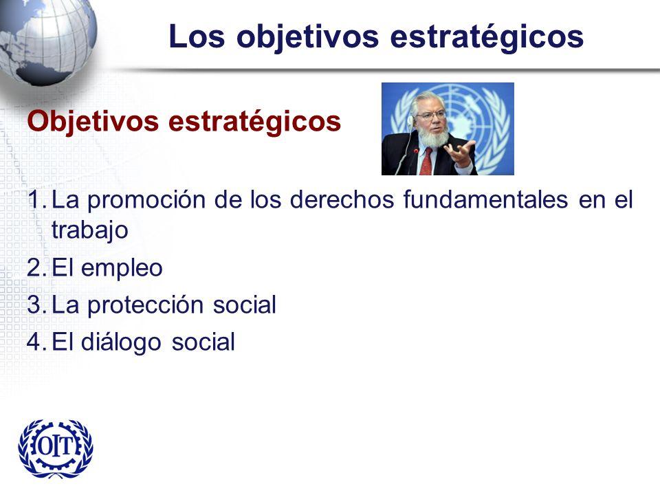 Los objetivos estratégicos Objetivos estratégicos 1.La promoción de los derechos fundamentales en el trabajo 2.El empleo 3.La protección social 4.El d