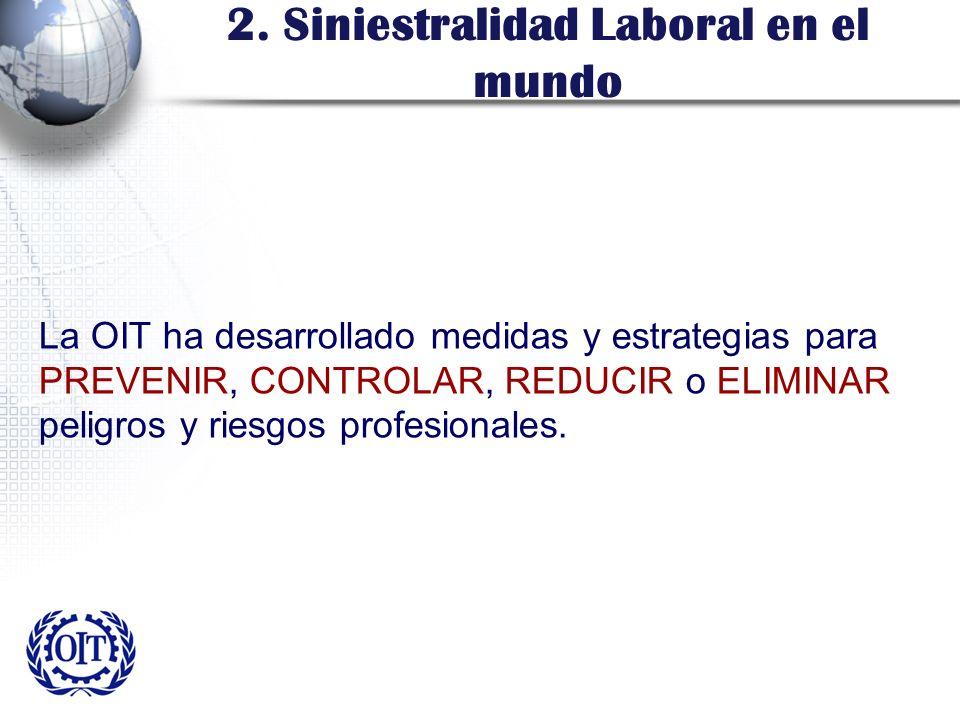 2. Siniestralidad Laboral en el mundo La OIT ha desarrollado medidas y estrategias para PREVENIR, CONTROLAR, REDUCIR o ELIMINAR peligros y riesgos pro