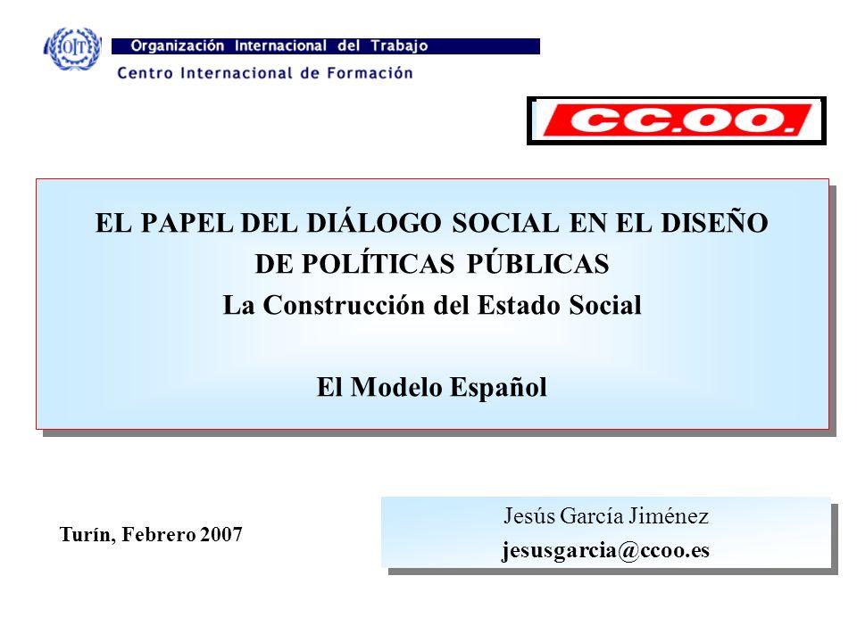 EL PAPEL DEL DIÁLOGO SOCIAL EN EL DISEÑO DE POLÍTICAS PÚBLICAS La Construcción del Estado Social El Modelo Español EL PAPEL DEL DIÁLOGO SOCIAL EN EL D