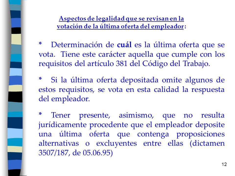 12 Aspectos de legalidad que se revisan en la votación de la última oferta del empleador : *Determinación de cuál es la última oferta que se vota. Tie