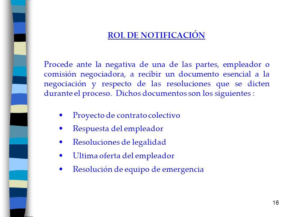 16 ROL DE NOTIFICACIÓN Procede ante la negativa de una de las partes, empleador o comisión negociadora, a recibir un documento esencial a la negociaci