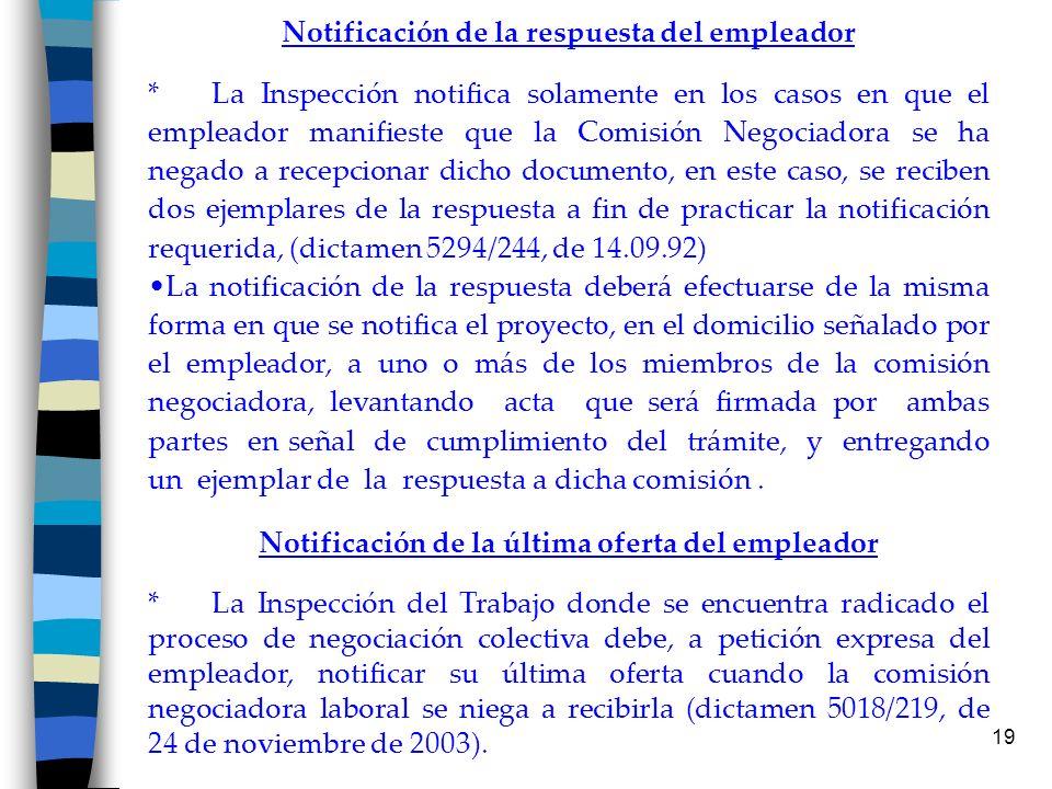 19 Notificación de la respuesta del empleador * La Inspección notifica solamente en los casos en que el empleador manifieste que la Comisión Negociado
