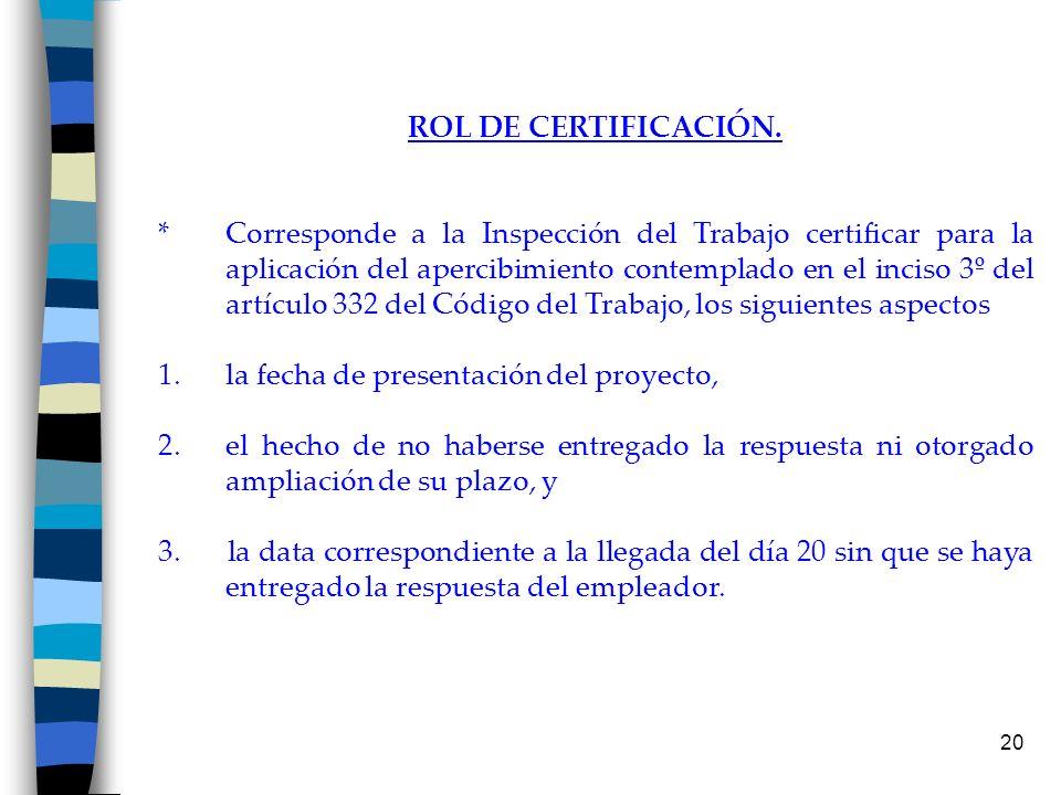 20 ROL DE CERTIFICACIÓN. * Corresponde a la Inspección del Trabajo certificar para la aplicación del apercibimiento contemplado en el inciso 3º del ar