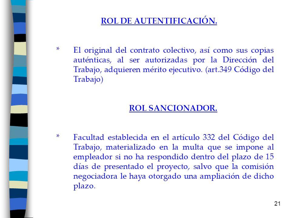 21 ROL DE AUTENTIFICACIÓN. * El original del contrato colectivo, así como sus copias auténticas, al ser autorizadas por la Dirección del Trabajo, adqu
