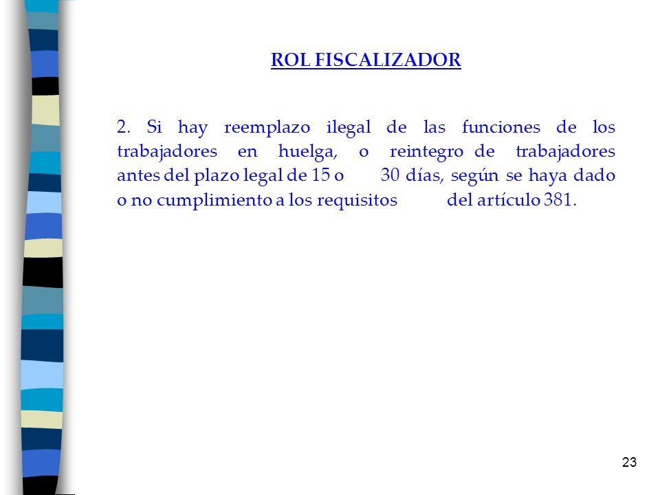 23 ROL FISCALIZADOR 2. Si hay reemplazo ilegal de las funciones de los trabajadores en huelga, o reintegro de trabajadores antes del plazo legal de 15