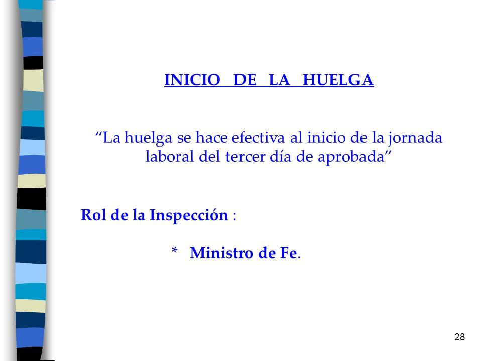 28 INICIO DE LA HUELGA La huelga se hace efectiva al inicio de la jornada laboral del tercer día de aprobada Rol de la Inspección : * Ministro de Fe.