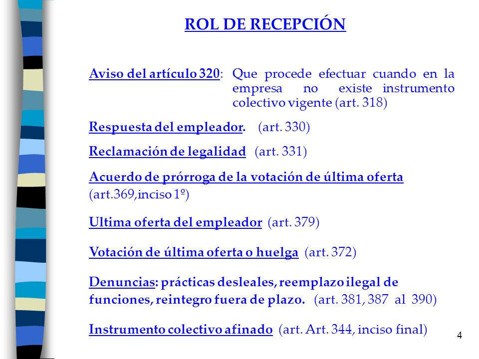 4 ROL DE RECEPCIÓN Aviso del artículo 320: Que procede efectuar cuando en la empresa no existe instrumento colectivo vigente (art. 318) Respuesta del