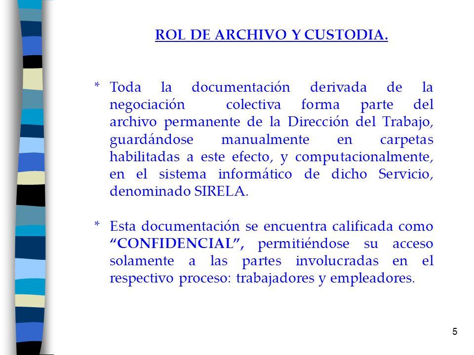 5 ROL DE ARCHIVO Y CUSTODIA. * Toda la documentación derivada de la negociación colectiva forma parte del archivo permanente de la Dirección del Traba