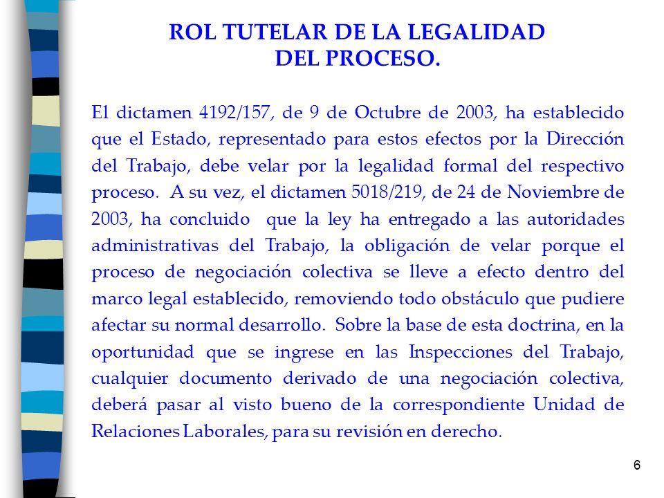 7 Aspectos de legalidad que se revisan en los proyectos de contratos colectivos : *Firma del empleador o de quien lo represente *Que haya sido presentado dentro de los plazos que establece el artículo 322 del Código del Trabajo.