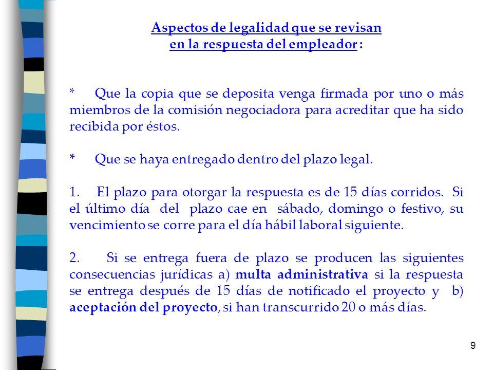 9 Aspectos de legalidad que se revisan en la respuesta del empleador : * Que la copia que se deposita venga firmada por uno o más miembros de la comis