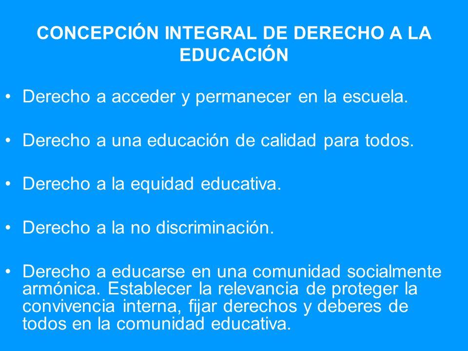 Derecho a acceder y permanecer en la escuela. Derecho a una educación de calidad para todos. Derecho a la equidad educativa. Derecho a la no discrimin
