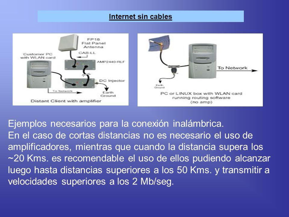Internet sin cables Ejemplos necesarios para la conexión inalámbrica. En el caso de cortas distancias no es necesario el uso de amplificadores, mientr
