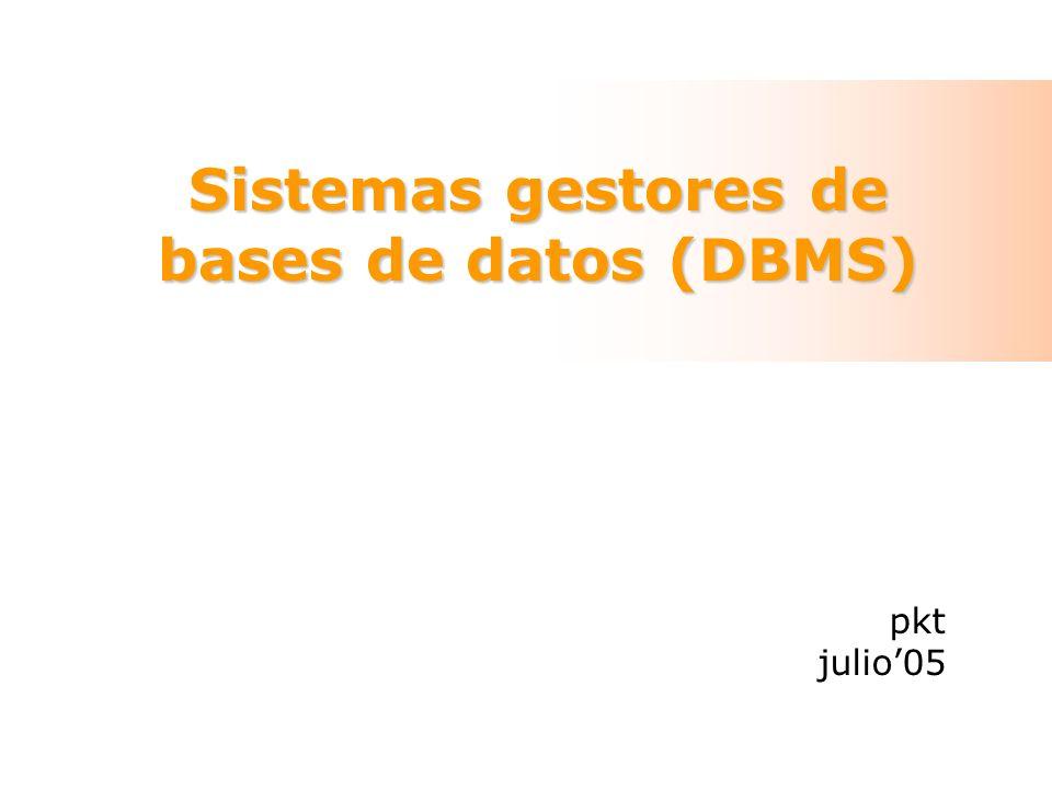 DBMS LocalesRemotos Propietarios- M$ Jet (M$ Access)- Oracle Libres- HSQL (BASE de OOo2)- MySQL - PostgreSQL