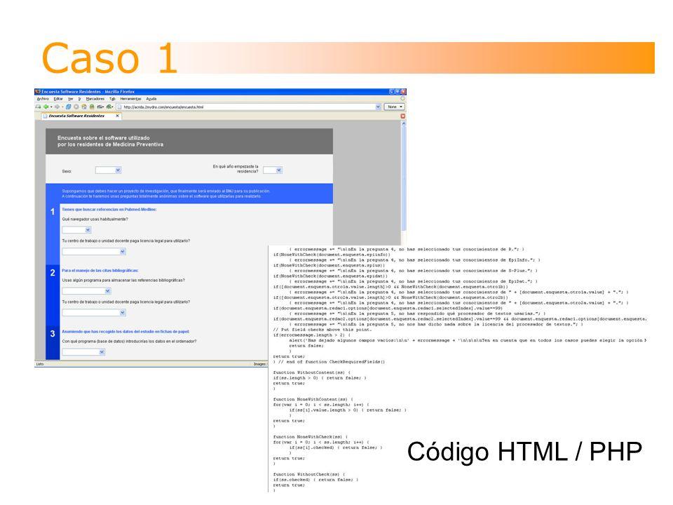 Caso 1 Código HTML / PHP