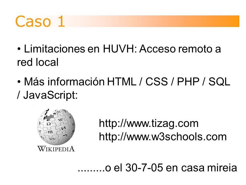 Limitaciones en HUVH: Acceso remoto a red local Más información HTML / CSS / PHP / SQL / JavaScript:.........o el 30-7-05 en casa mireia http://www.tizag.com http://www.w3schools.com