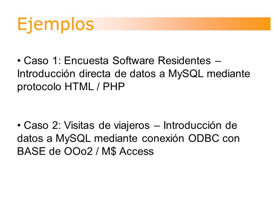 Ejemplos Caso 1: Encuesta Software Residentes – Introducción directa de datos a MySQL mediante protocolo HTML / PHP Caso 2: Visitas de viajeros – Introducción de datos a MySQL mediante conexión ODBC con BASE de OOo2 / M$ Access