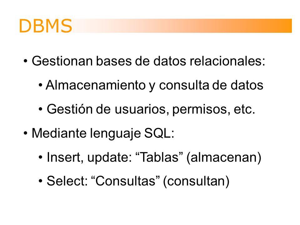 Frontends Permiten la interacción user-friendly con los DBMS: Facilitan la gestión de las bases de datos (usuarios, permisos, seguridad, etc.) Facilitan creación y relleno de tablas Facilitan creación de consultas Permiten la creación de formularios Permiten la creación de informes