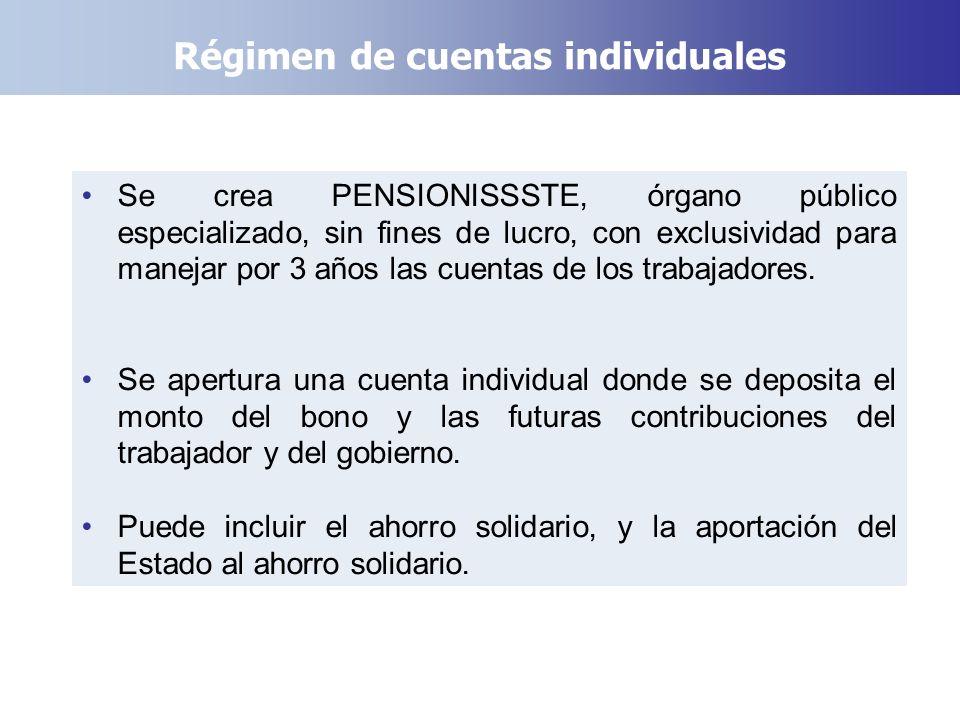 Régimen de cuentas individuales Se crea PENSIONISSSTE, órgano público especializado, sin fines de lucro, con exclusividad para manejar por 3 años las