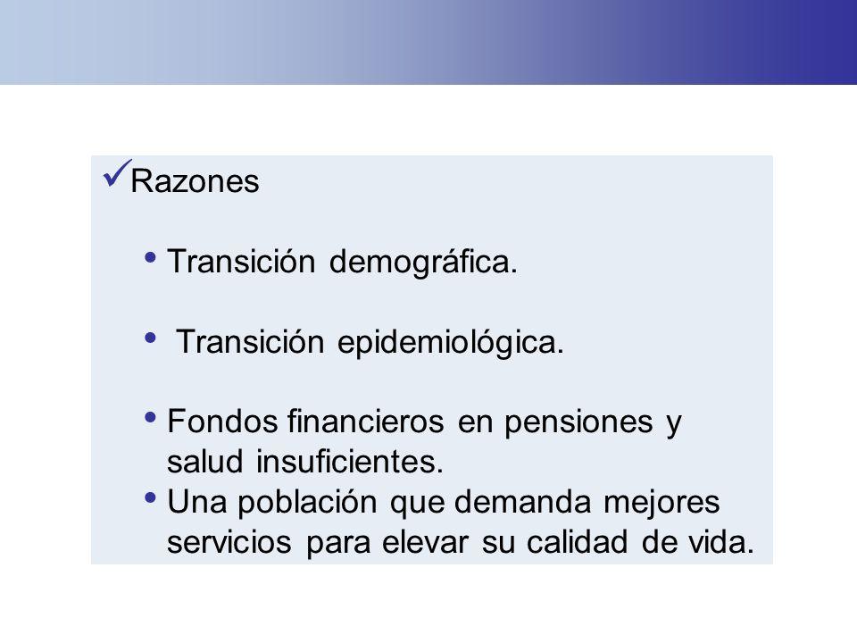 Razones Transición demográfica. Transición epidemiológica. Fondos financieros en pensiones y salud insuficientes. Una población que demanda mejores se