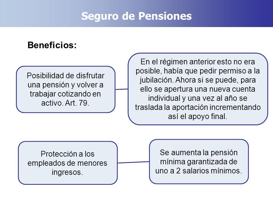 Seguro de Pensiones Beneficios: Posibilidad de disfrutar una pensión y volver a trabajar cotizando en activo. Art. 79. Protección a los empleados de m