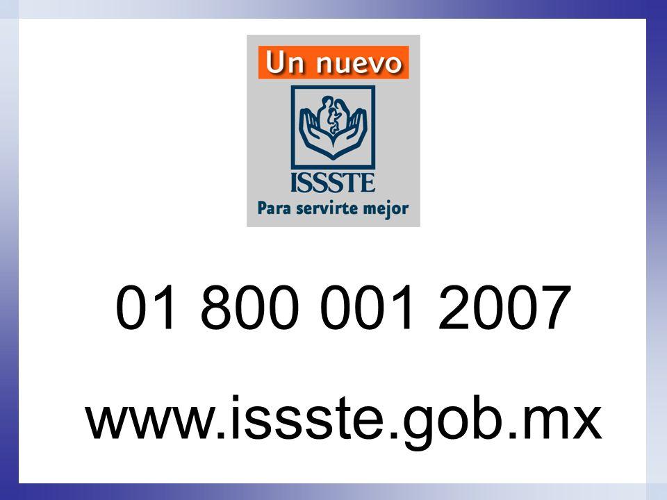 01 800 001 2007 www.issste.gob.mx