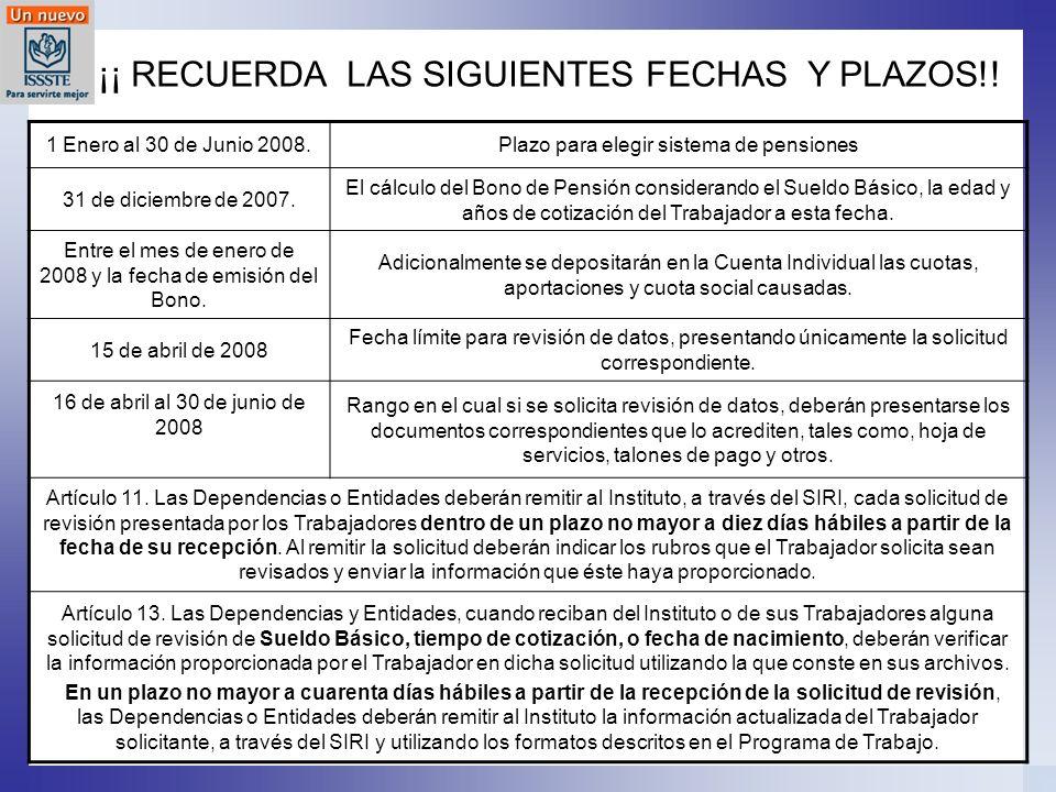 ¡¡ RECUERDA LAS SIGUIENTES FECHAS Y PLAZOS!! 1 Enero al 30 de Junio 2008.Plazo para elegir sistema de pensiones 31 de diciembre de 2007. El cálculo de
