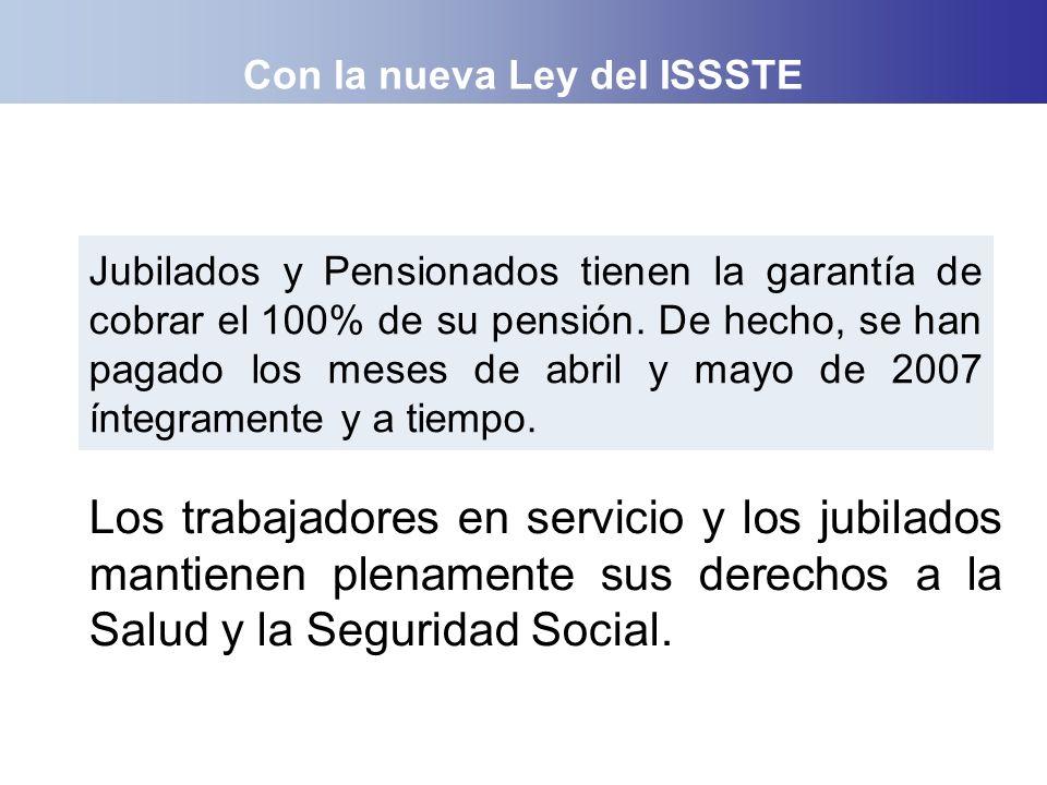 Con la nueva Ley del ISSSTE Jubilados y Pensionados tienen la garantía de cobrar el 100% de su pensión. De hecho, se han pagado los meses de abril y m