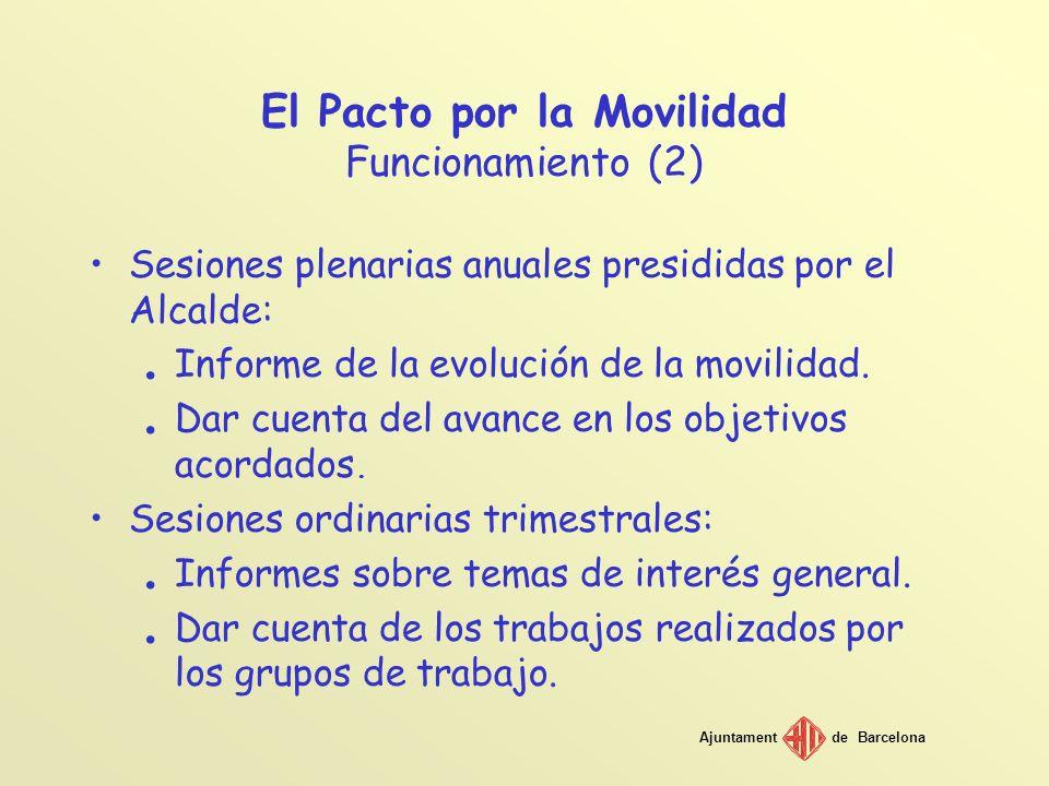 Ajuntamentde Barcelona El Pacto por la Movilidad Funcionamiento (2) Sesiones plenarias anuales presididas por el Alcalde:. Informe de la evolución de